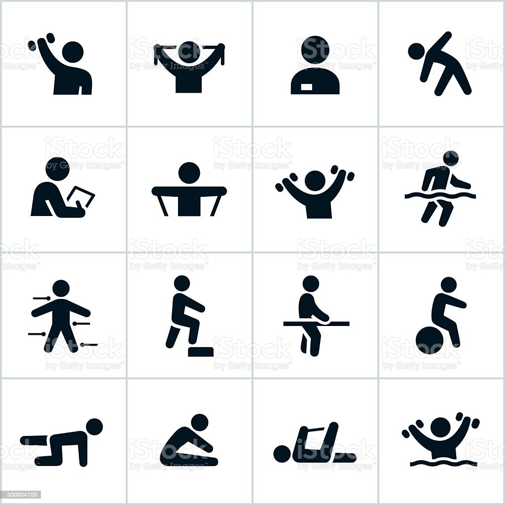 Black Physical Therapy Icons vector art illustration