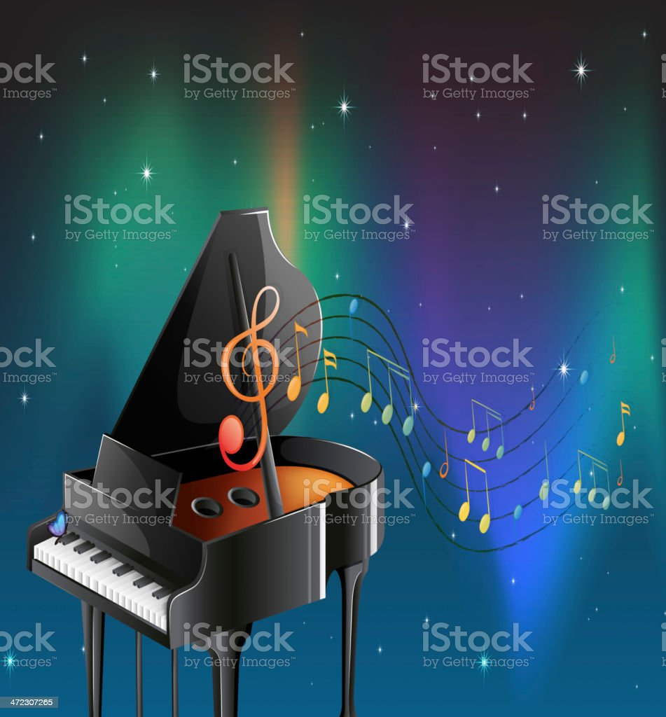 Black piano with musical notes royalty-free stock vector art