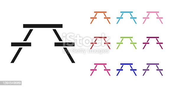 Black Picnic table with benches on either side of the table icon isolated on white background. Set icons colorful. Vector Illustration