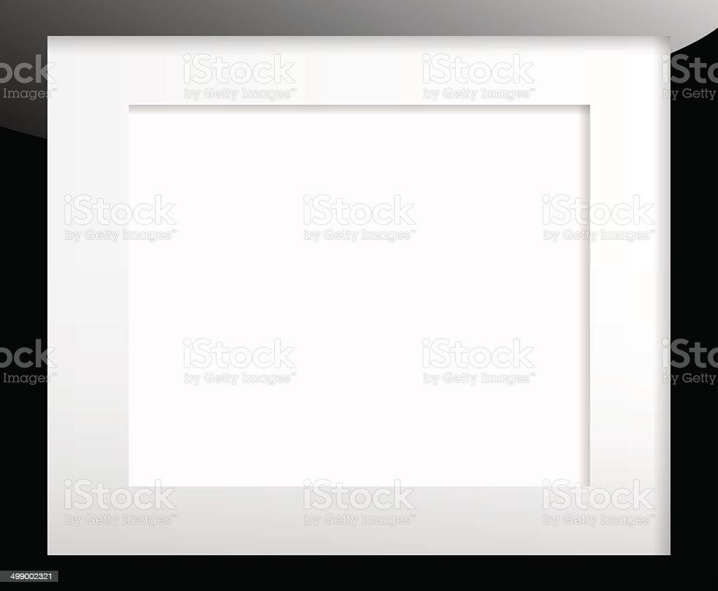 Black picture frame with passe partout vector art illustration