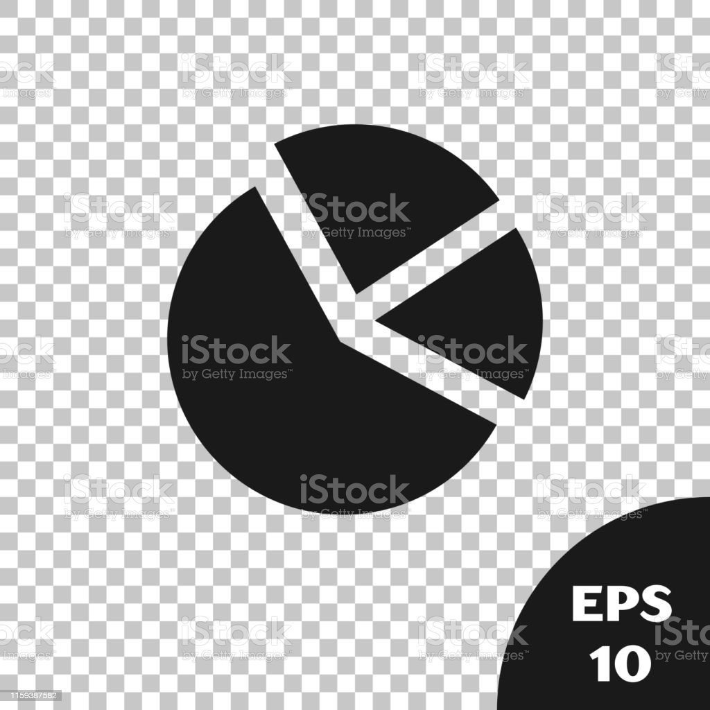 Black Pie Chart Infographic Icon Isolated On Transparent