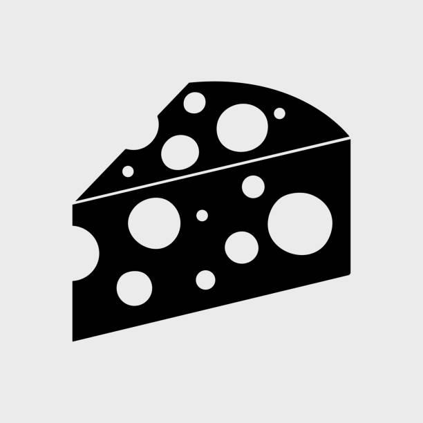 ilustrações de stock, clip art, desenhos animados e ícones de black piece cheese icon. vector illustration - queijo