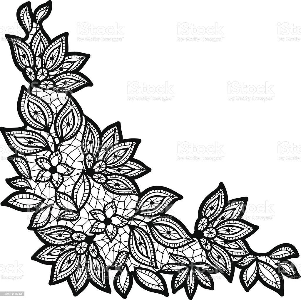 Black pierced flowers and leaves in corner of white paper vector art illustration