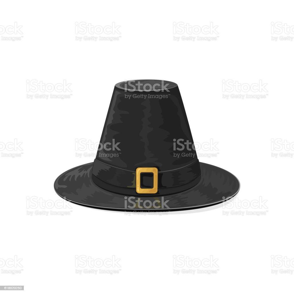 Black pilgrim hat vector art illustration