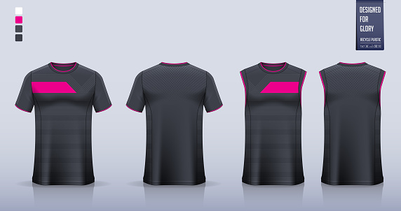Black Pink Abstract pattern T-shirt sport, Soccer jersey, football kit, basketball uniform, tank top, and running singlet mockup.