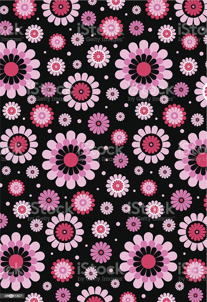 black pink cute floral polka dot pattern stock vector art
