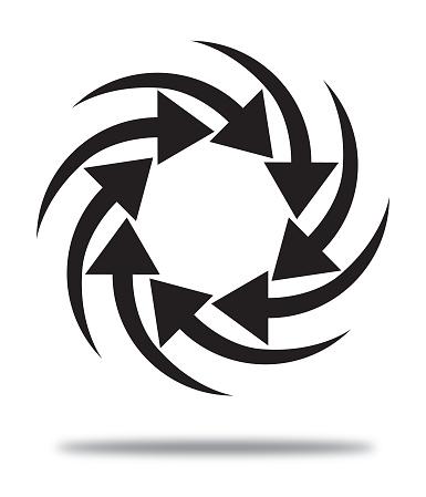 Black Pinwheel Arrows Icon