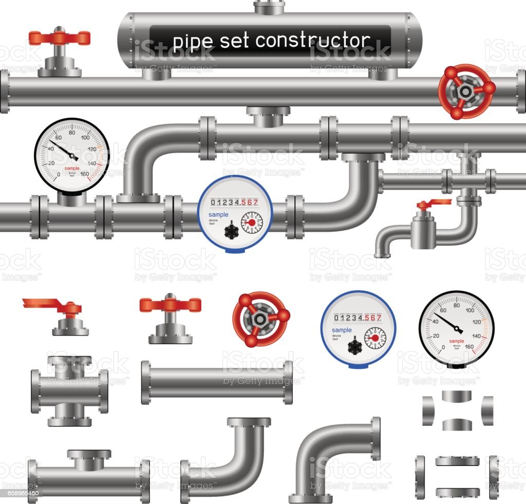 black pipe set constructor vector art illustration