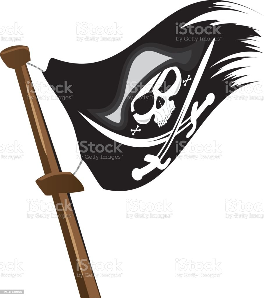 Black pirate flag at mast.