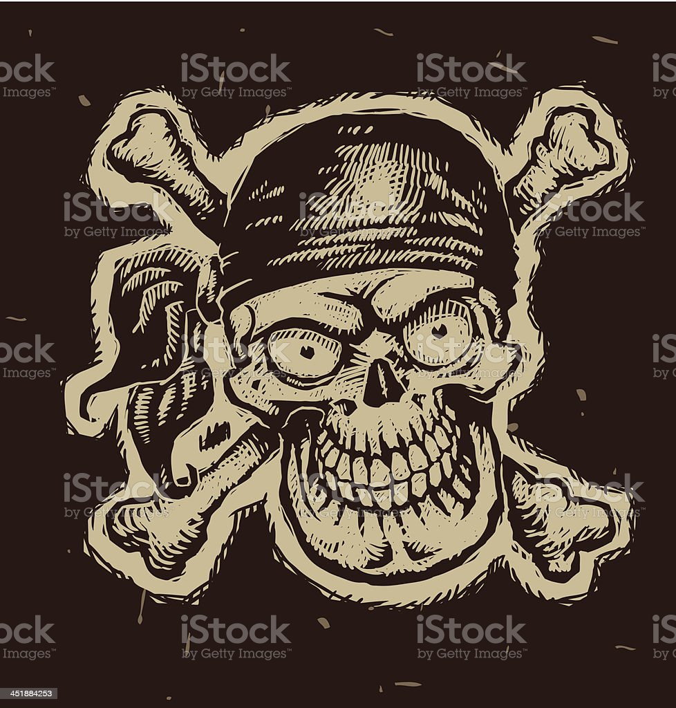 Black Pirate Skull In A Bandana Stock Vector Art More Images Of