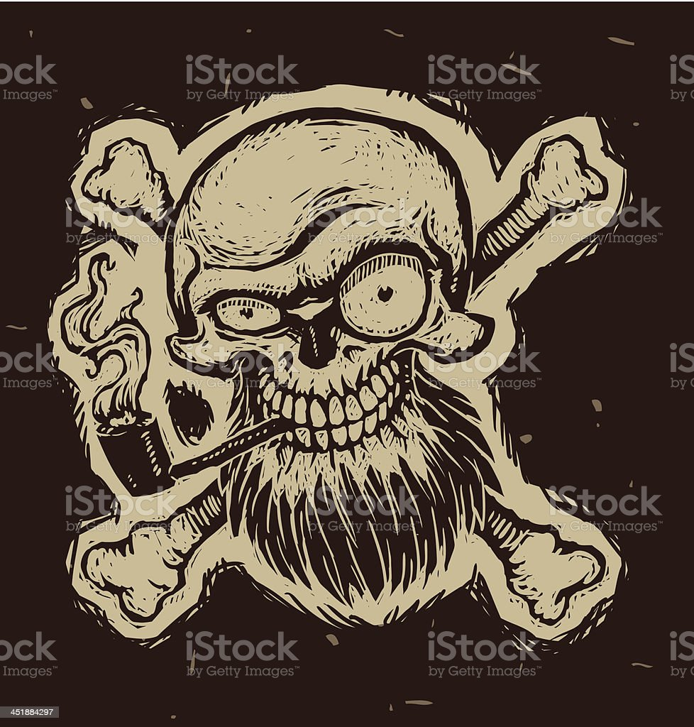 Black Pirate Skull With A Tobacco Pipe Stock Vector Art & More ...