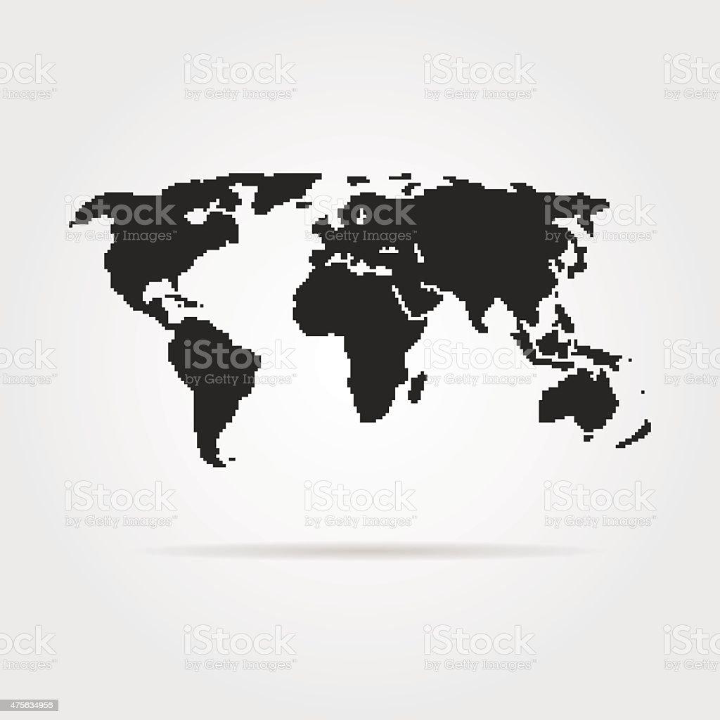 Noir Pixel Art Carte Du Monde Avec Shadow Vecteurs Libres De