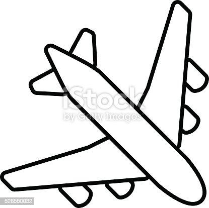 Black Plane Outline Stock Vector