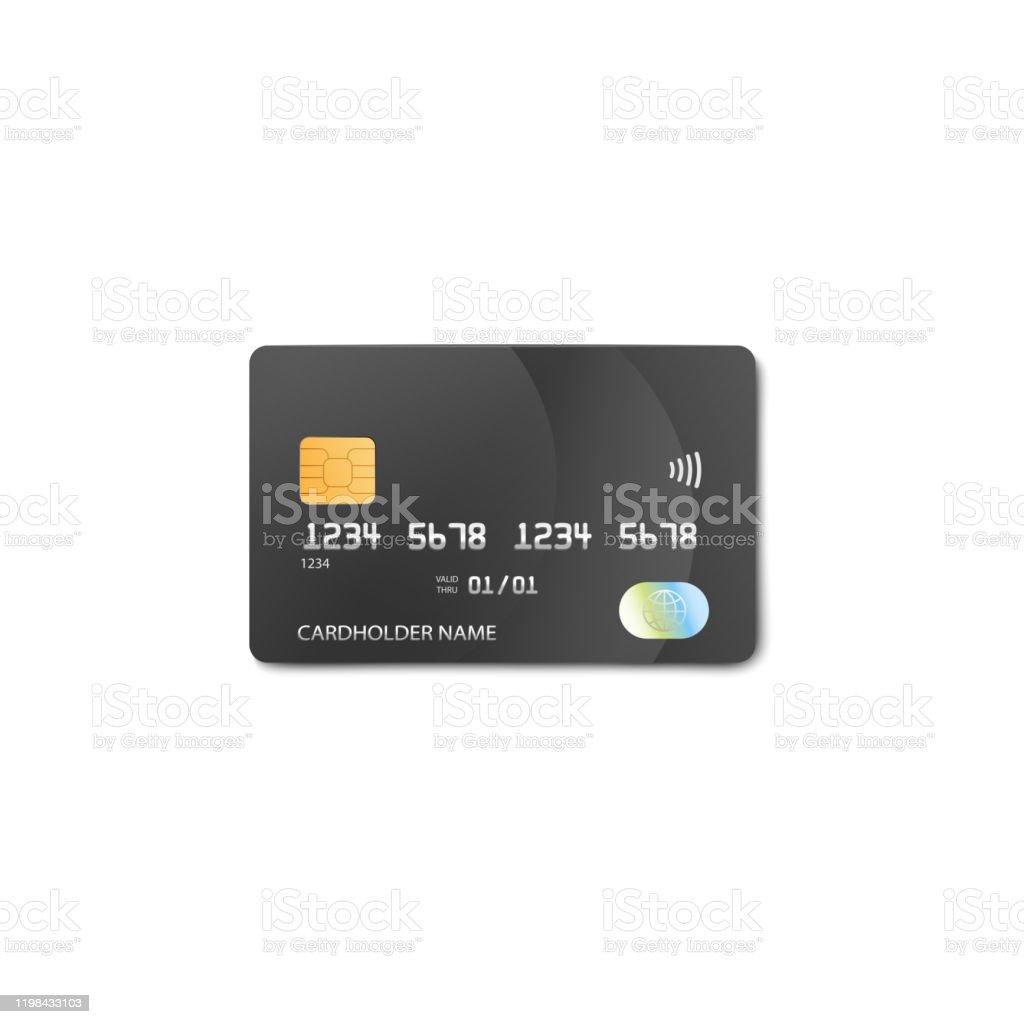 Ilustración De Maqueta De Tarjeta De Crédito O Débito De Plástico Negro Con Número Falso Y Nombre Del Titular De La Tarjeta Y Más Vectores Libres De Derechos De Actividades Bancarias