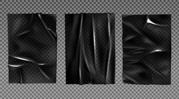 Black plastic stretched film for wrapping vector art illustration