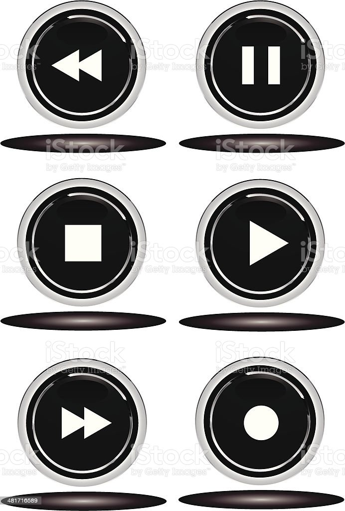Black play buttons royalty-free stock vector art