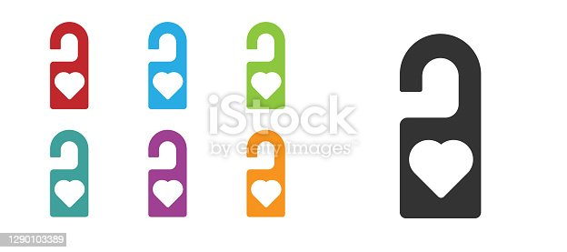 istock Black Please do not disturb with heart icon isolated on white background. Hotel Door Hanger Tags. Set icons colorful. Vector 1290103389