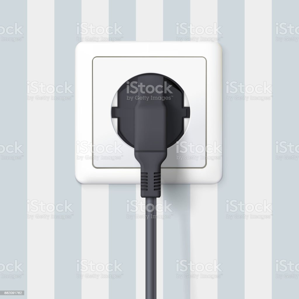 Black Plug Inserted In A Wall Socket On Backdrop Of With Wiring Wallpaper Stripes