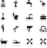 Black Plumbing Icon Set