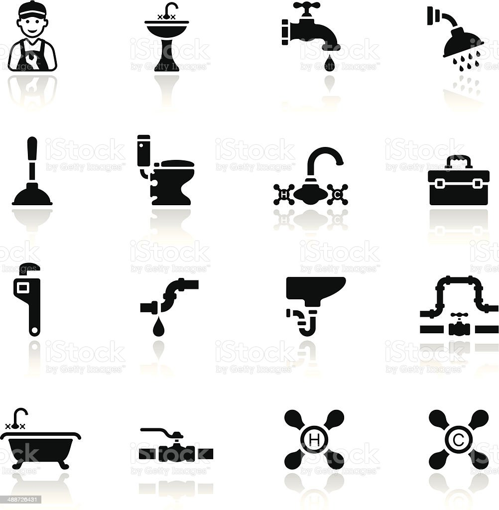 Black Plumbing Icon Set vector art illustration