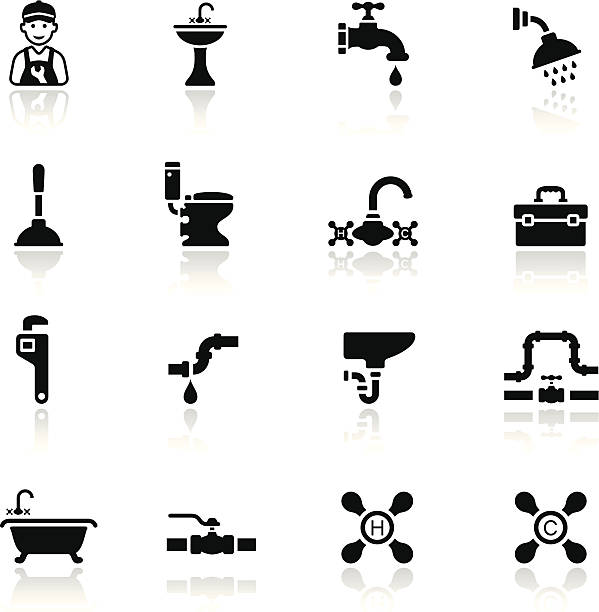black plumbing icon set - tap water stock illustrations