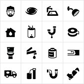 Plumbing related icons. All white strokes/shapes are cut from the icons and merged allowing the background to show through.