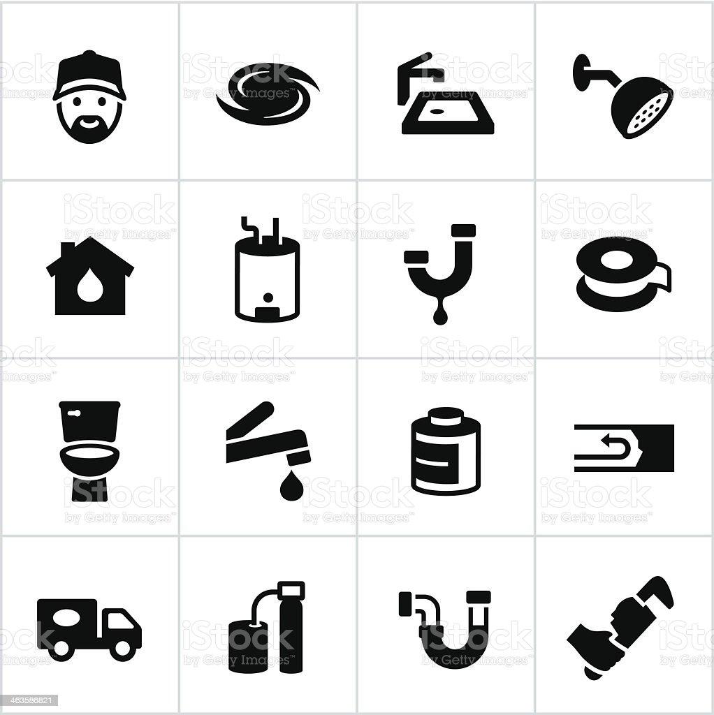 Black Plumbing Icons vector art illustration