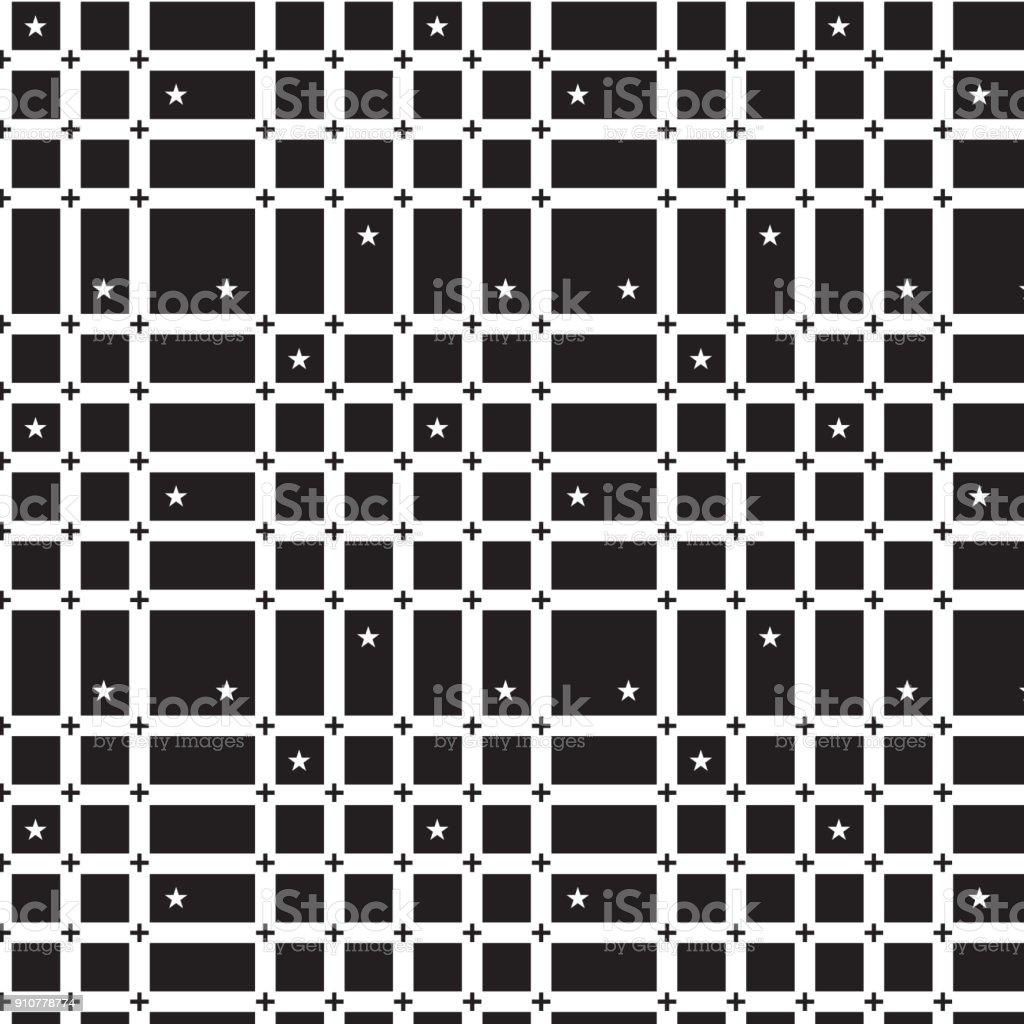 schwarze Pluszeichen auf weiße Raster Linie Muster weiße Sterne schwarzen Hintergrund – Vektorgrafik