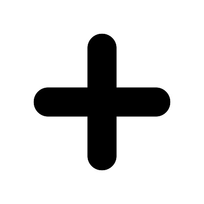 Black plus sign. Positive symbol isolated on white background. Vector EPS10
