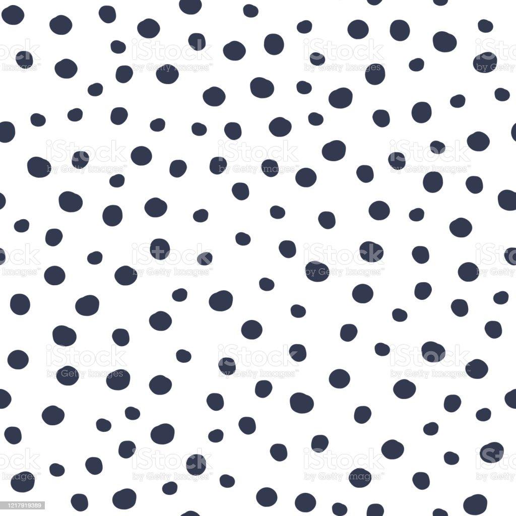 Black Polka Dot Seamless Pattern On White Background ...