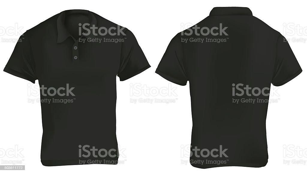 Black Polo Shirt Template vector art illustration