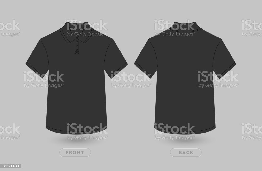 Black Polo T Shirt Vector Mockup. Polo Polo Shirt Front and Back Illustration. Blank Design Template. Isolated on a gray background.
