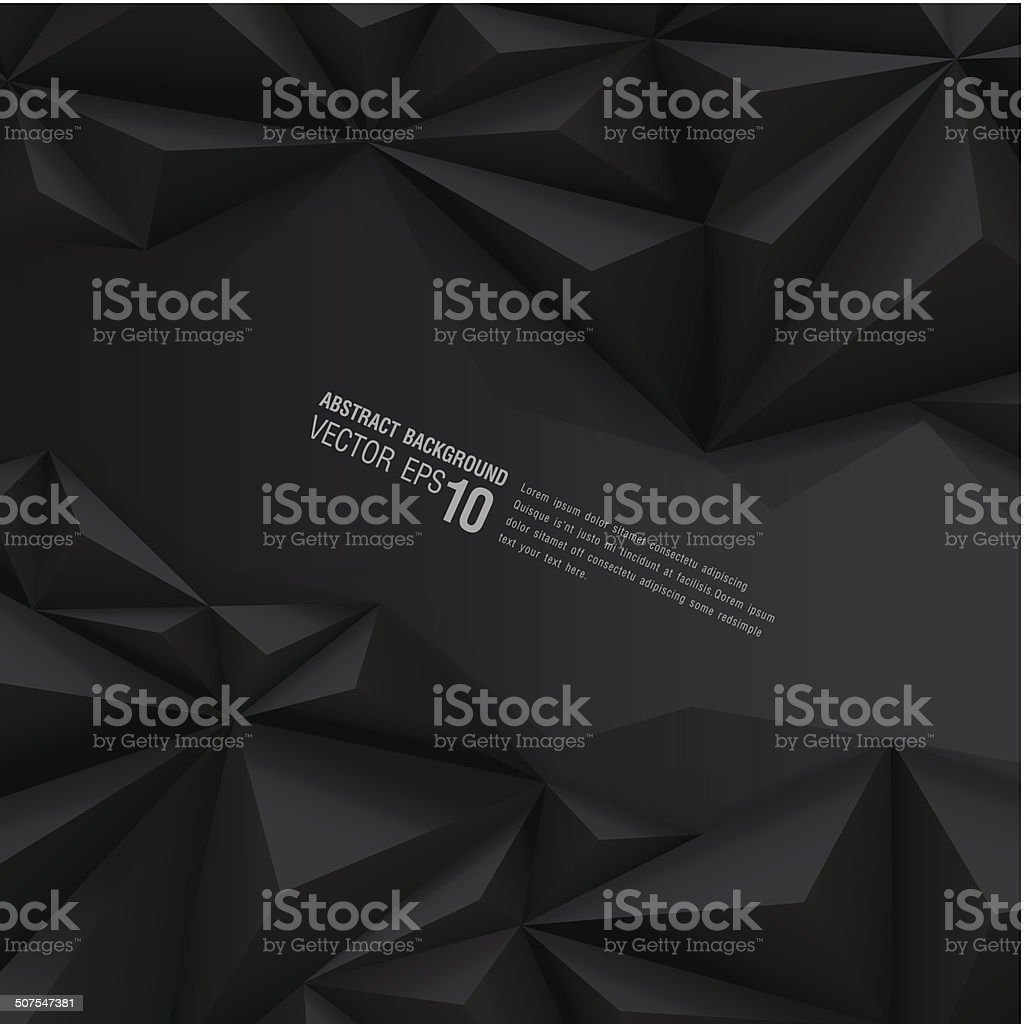 Black polygon background. vector art illustration