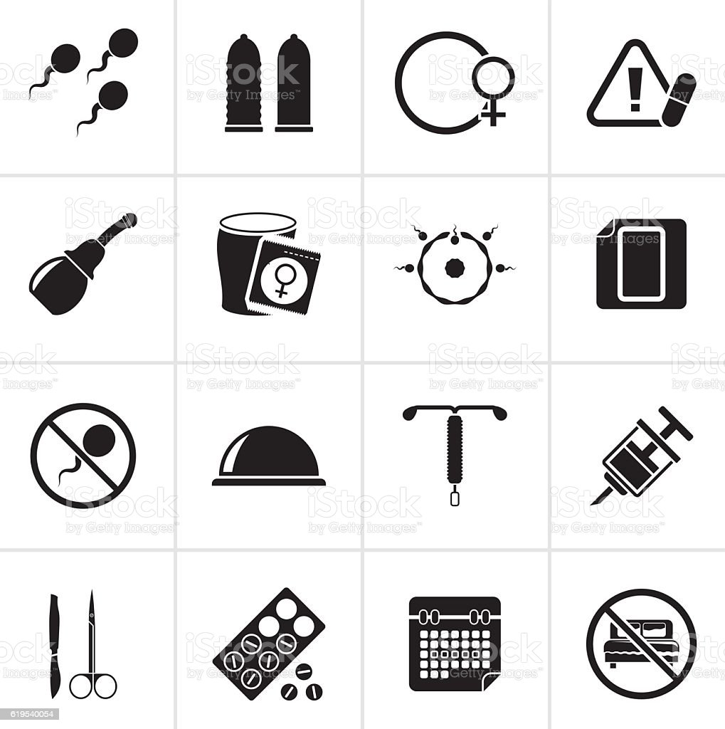 Black Pregnancy and contraception Icons - Illustration vectorielle