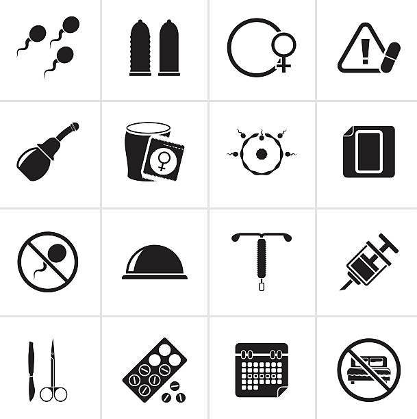Black Pregnancy and contraception Icons vector art illustration