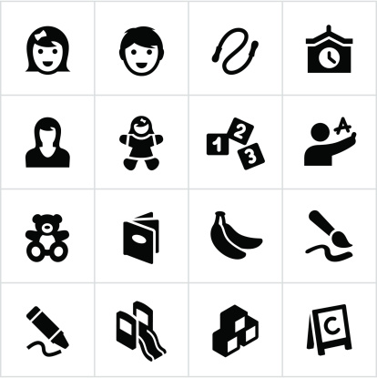 Preschool or day care related icons. All white strokes/shapes  are cut from the icons and merged allowing the background to show through.