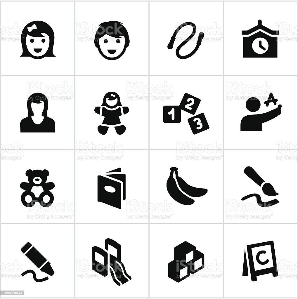 Black Vorschulalter und Kinderbetreuung Symbole – Vektorgrafik