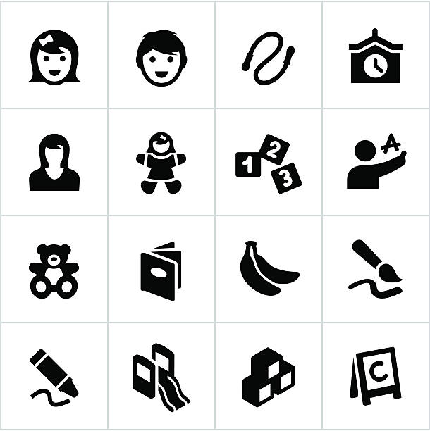 black preschool and day care icons - preschool stock illustrations