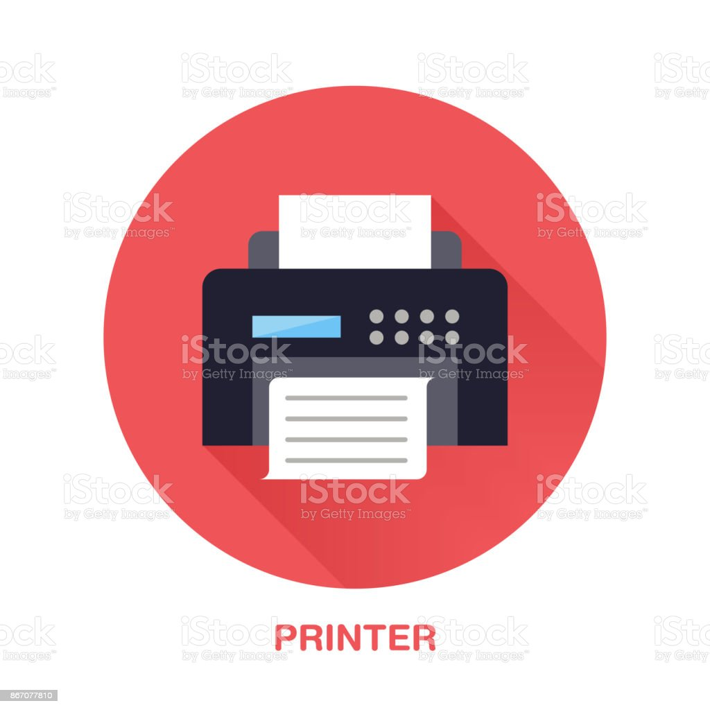 Black printer with paper page flat style icon. Wireless technology, office equipment sign. Vector illustration of communication devices for electronics store vector art illustration
