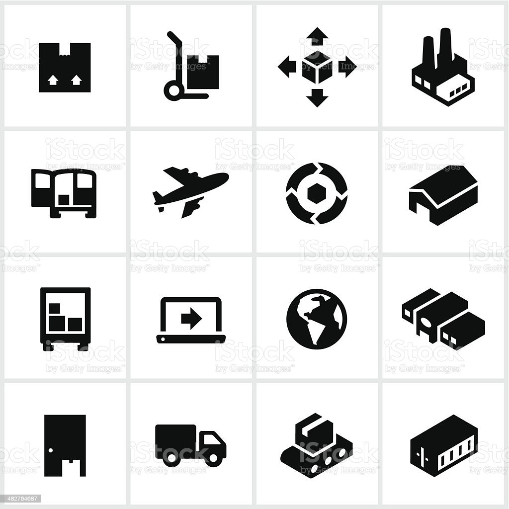 Black Product Shipping Icons vector art illustration