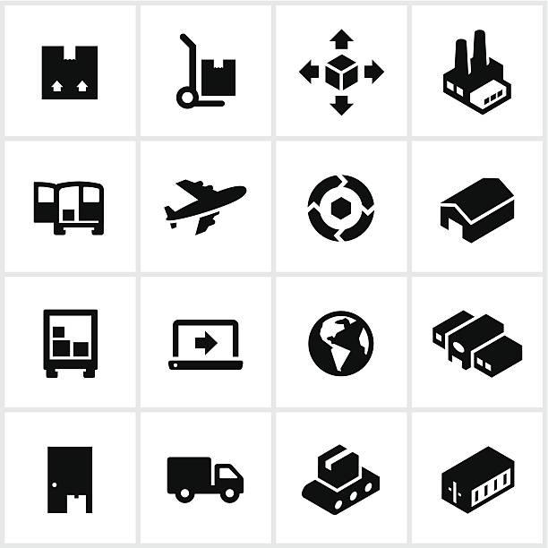 ikony czarny wysyłka produktu - wózek transportowy stock illustrations