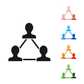 Black Project team base icon isolated on white background. Business analysis and planning, consulting, team work, project management. Developers. Set icons colorful. Vector Illustration