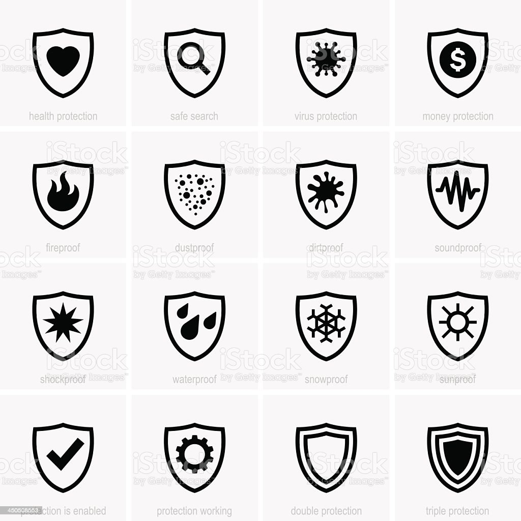 Black protection icons in light gray squares vector art illustration