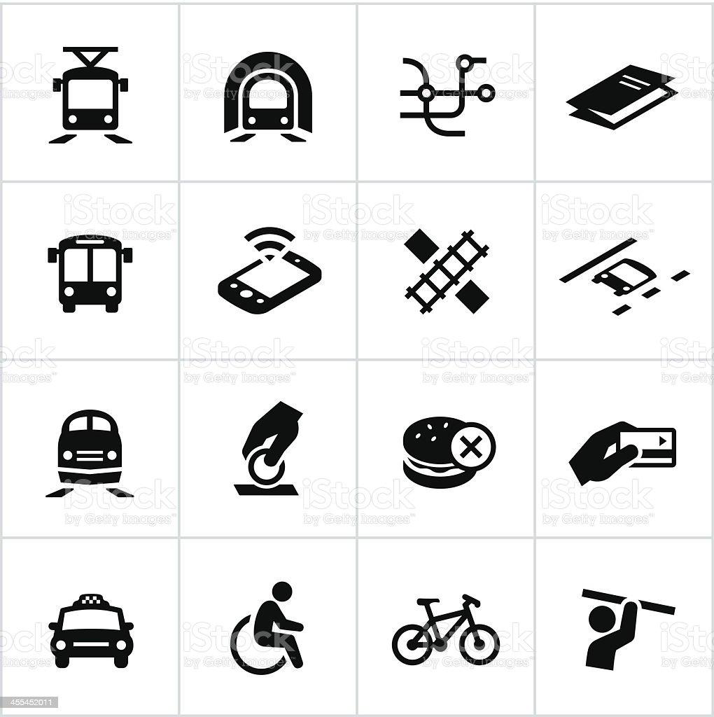 Black Public Transit Icons vector art illustration