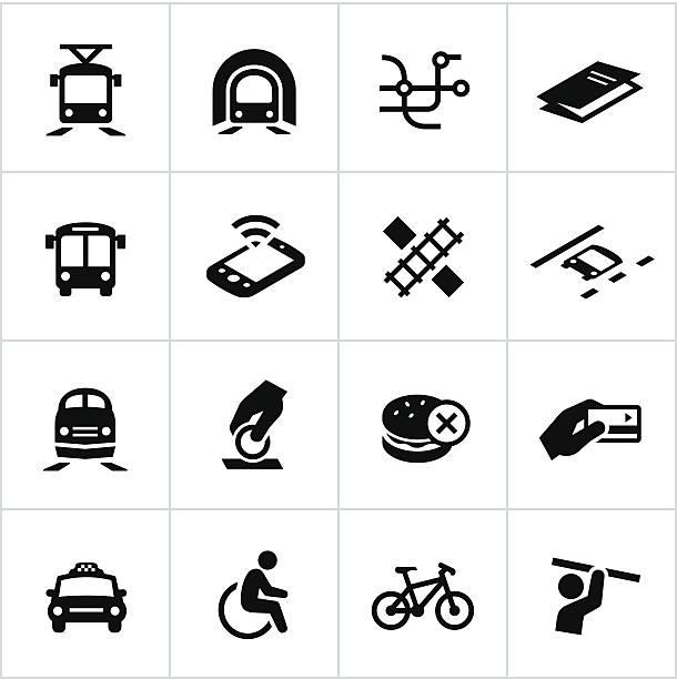 schwarze öffentlichen verkehrsmittel symbole - hauptverkehrszeit stock-grafiken, -clipart, -cartoons und -symbole