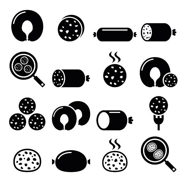 black pudding sausage, haggis, white pudding icons set - haggis stock illustrations, clip art, cartoons, & icons