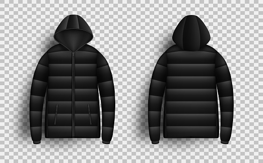 Black puffer jacket mockup set, vector isolated illustration. Realistic modern hooded down jacket, front and back view.