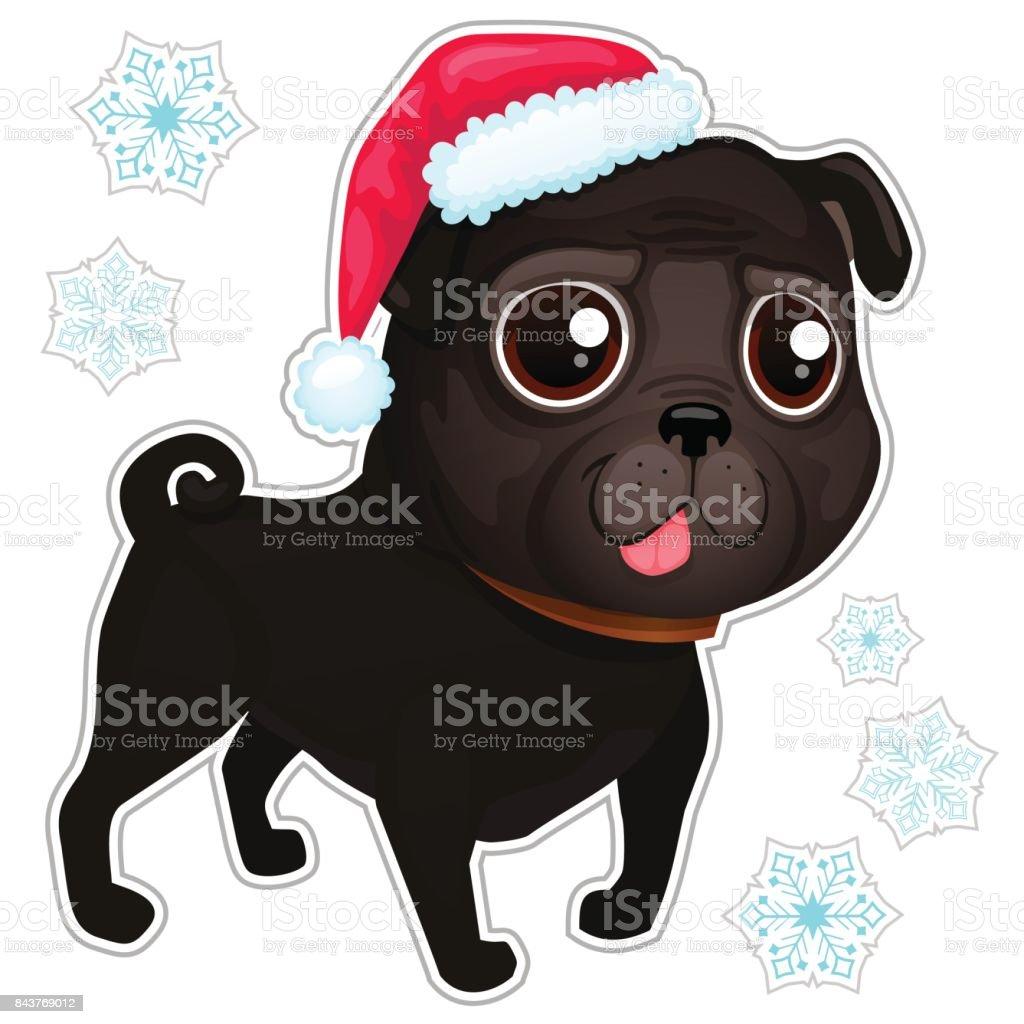 クリスマスの帽子でパグの黒パグ犬のイラスト お絵かきのベクター