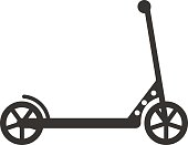 Black push kick scooter fun activity transportation vehicle sport ride