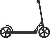 Black push kick scooter fun activity transportation vehicle sport ride toy vector illustration. Kick scooter toy and kick scooter silhouette. Silhouette kick scooter handle transport push scooter.